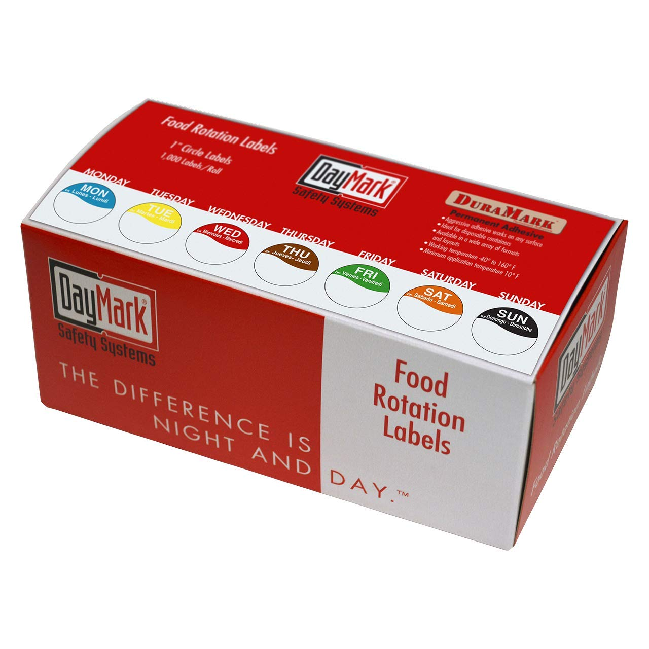 Monday-Sunday Dispenser Box Included Case of 12 DayMark Day of The Week 1 Removable Labels