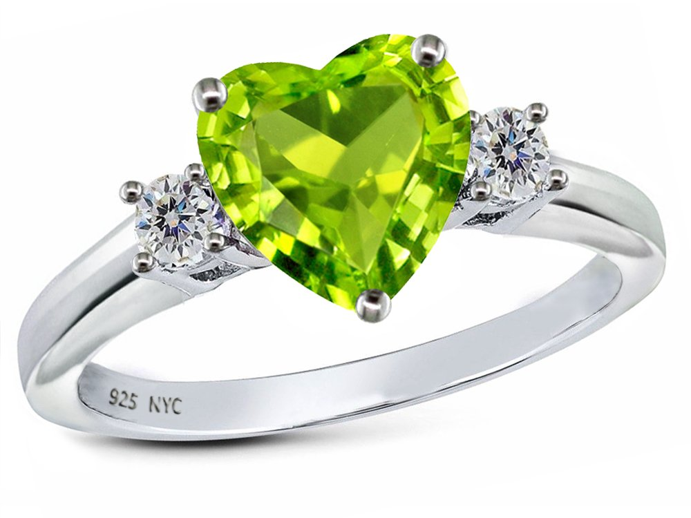 Star K 8mm Heart Shape Genuine Peridot and Cubic Zirconia Ring Sterling Silver Size 8