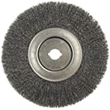 "Weiler 804-01250-12 Trulock Narrow Face Crimped Wire Wheel, 10"" Diameter x 3/4"" Width, 1"", 0.014"" Steel, 4000 rpm (Pack…"