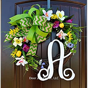 Spring Monogram Letter Front Door Wreath with Poppies, Daffodils and Wildflowers in 20 Inch Diameter with Burlap Chevron Bow 21
