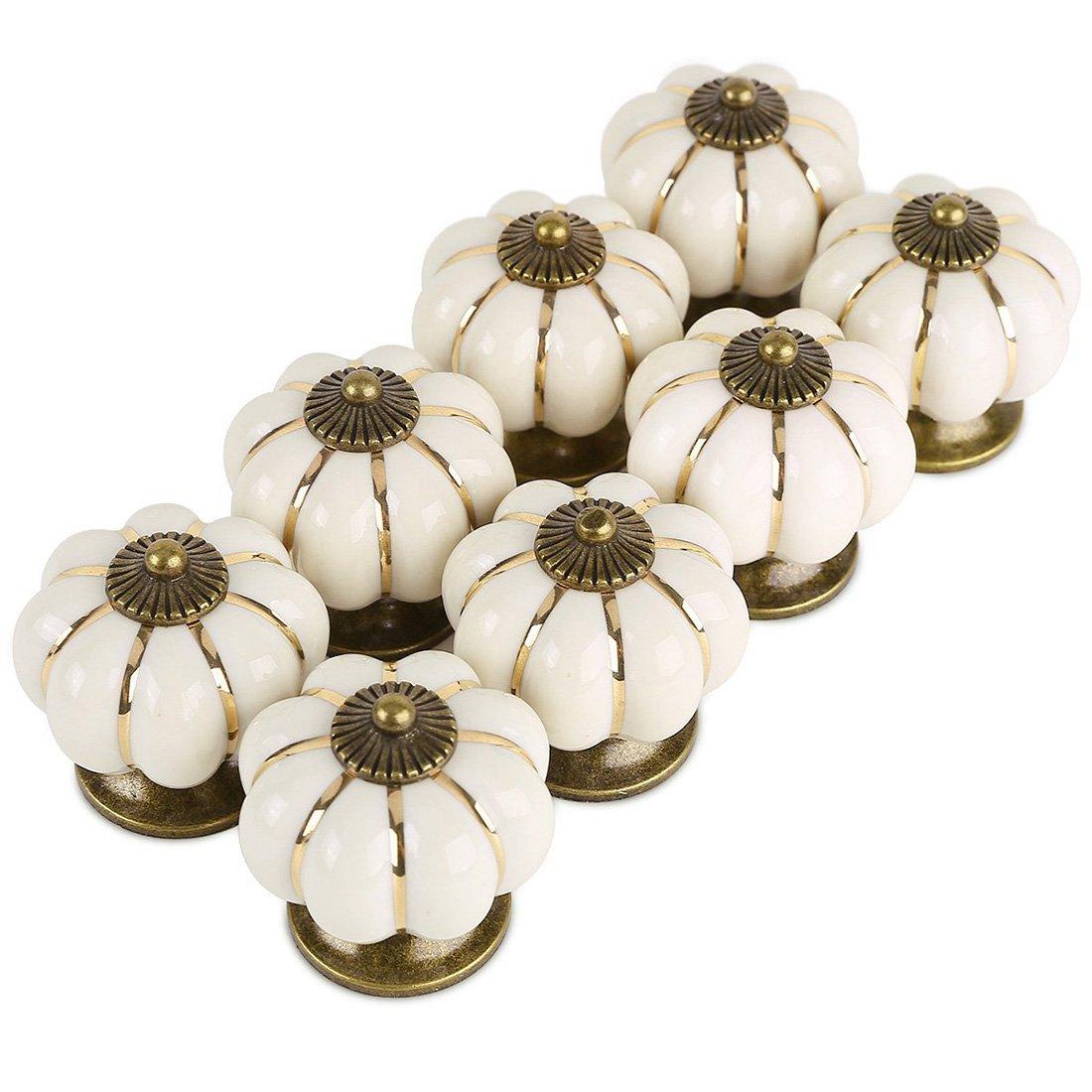 Giplar Set di 10 Pomelli Rotondi in Ceramica, Zucca a Forma di Pomello in Ceramica per Cucine, Bagni o Capannoni - 38MM