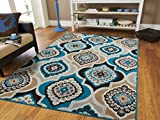 Century Home Goods Collection Panal and Diamonds Area Rug Beige, Navy, Coral Blue, Grey, Black, Ivory Foyer Rugs 2x3 Entrance Carpet