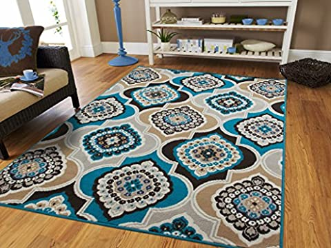 Century Home Goods Collection Panal and Diamonds Area Rug Blues 8x10 Contemporary Rugs Blue 8x11 Area Rug 8x10 Clearance Under (8x11 Area Rug Blue)