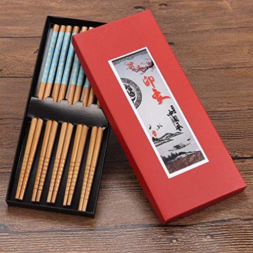 Iuhan 5 pairs chopsticks Cherry blossoms Japanese bamboo wood gift box (Personalized Cherry Blossom Lip Balm)
