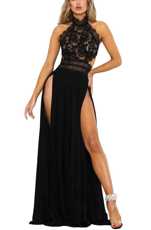 Evening Dresses Outfits Sets Summer Vintage Lace Neck Floral Sleeveless Cocktail Party Dress(Black-M)
