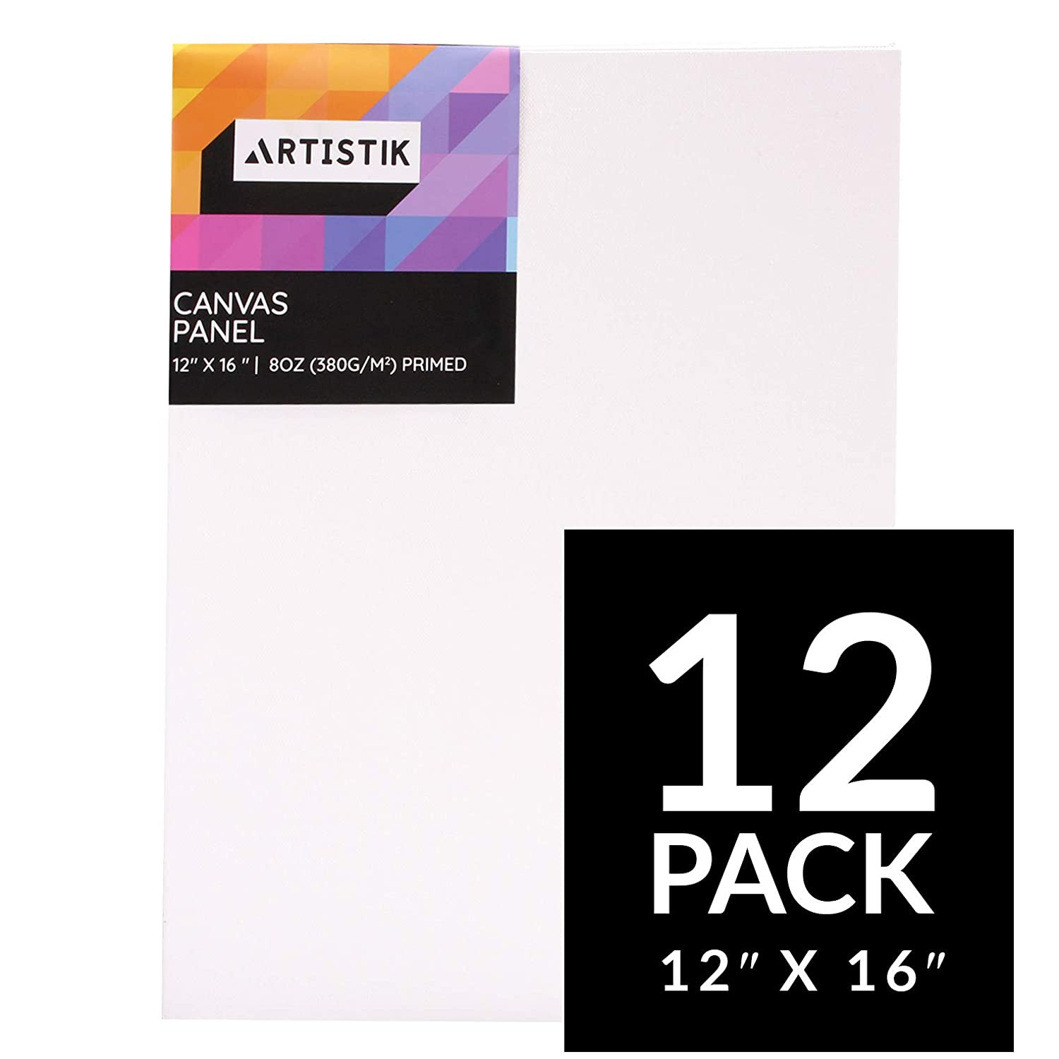 Canvas Panels - Artist Canvas Panel Boards for Painting Quality Acid Free Blank Flat Canvases Paint Boards Quality Art Paint Supply by Artistik (16 x 12