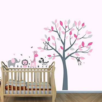 Amazoncom Pink Jungle Wall Decals Girl Jungle Stickers Baby - Nursery wall decals jungle