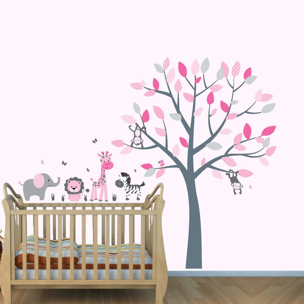 Pink Jungle Wall Decals, Girl Jungle Stickers, Baby Girl Nursery Décor, Vinyl Tree Decal