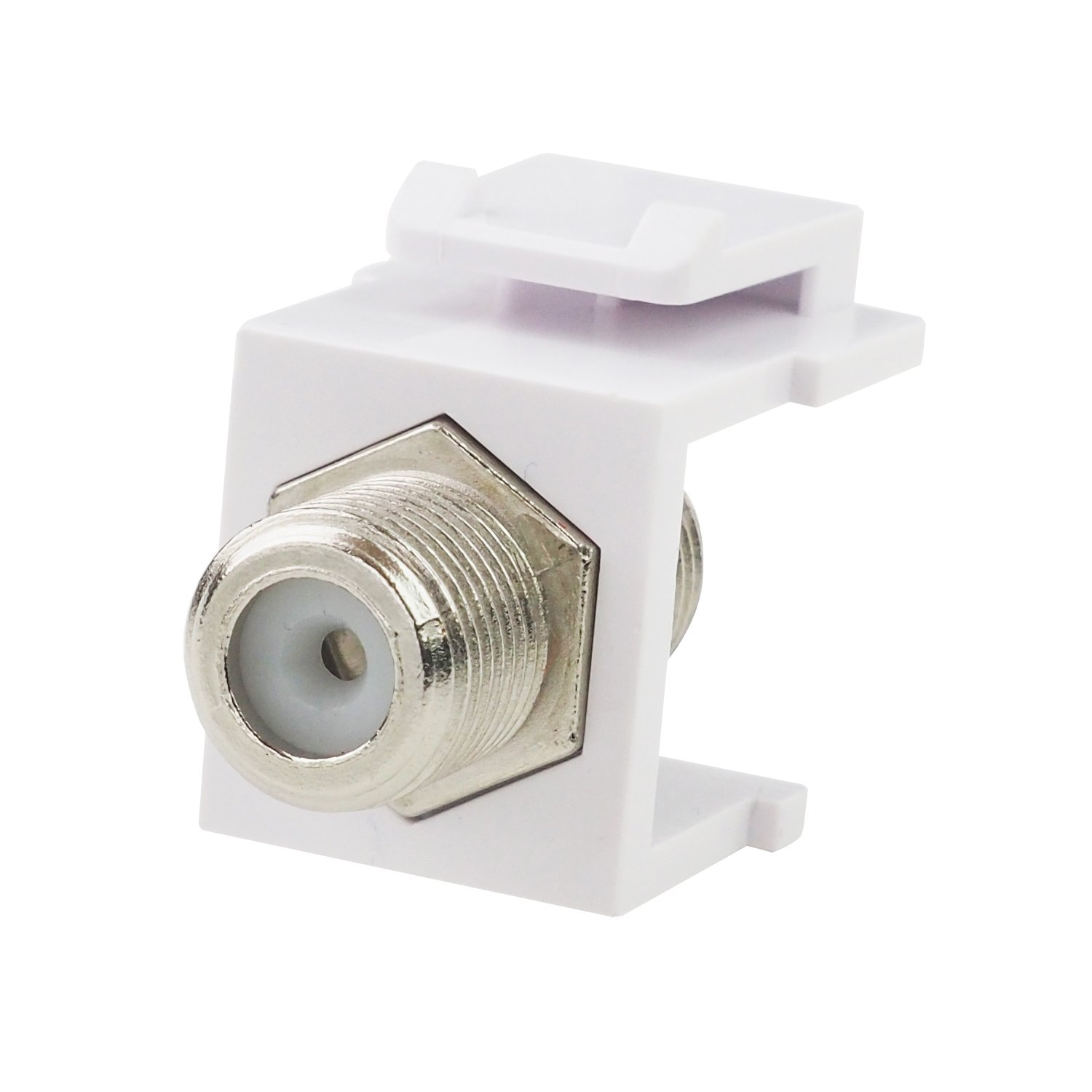 LINKOMM (10 Pack) Multimedia F-Type Female to Female Barrel RG6 Coaxial Connector Keystone Jack Insert for Wall Plate, White