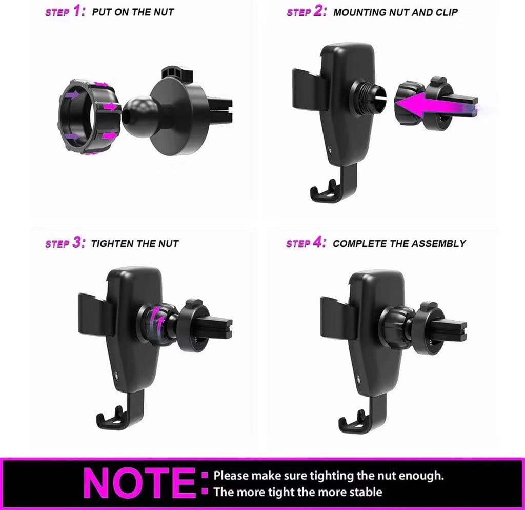 KimBird Automatic Clamping Qi Fast Wireless Car Charger Mount+Suction Mount+Fast USB Line,Gravity Linkage Air Vent Phone Holder Compatible with Smart Phone X//Samsung More