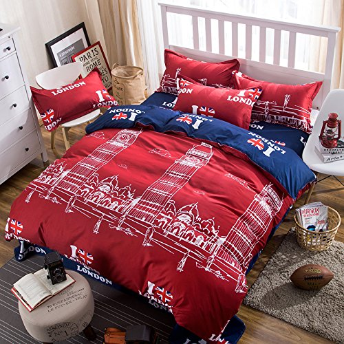 London Twin Bed (Kids/Adult Bedding Sets 4pcs/Set Bedsheet Duvet Cover Pillow Cases Twin Full Queen Size HM Famous City Design (Twin, London Red))