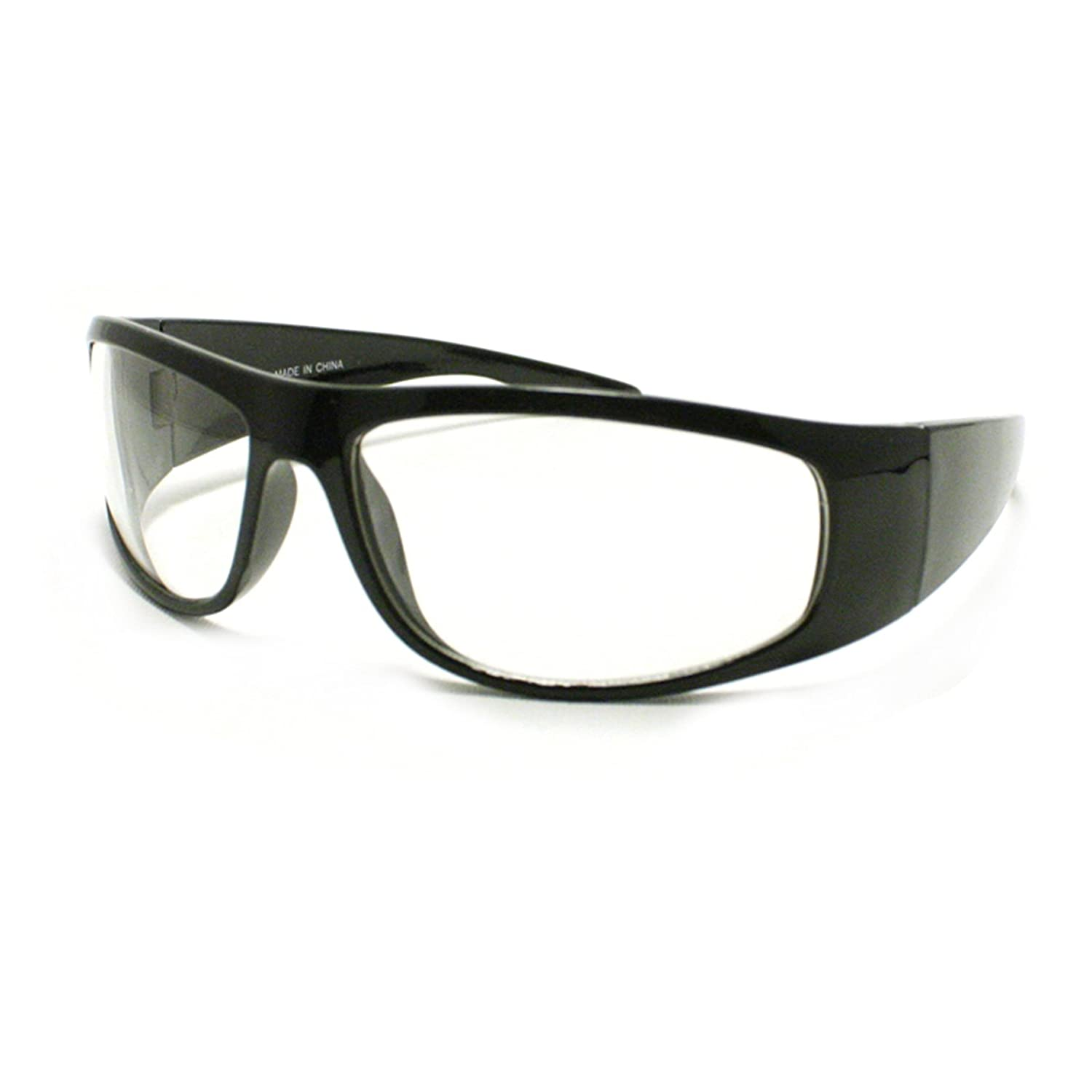 3462b39efc0 Amazon.com  Mens Biker Eyeglasses Clear Lens Motorcycle Riding Glasses  Black  Clothing