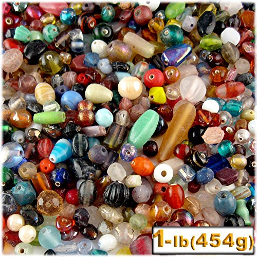 Glass Medium Beads Assorted (1lb=454g Bulk assorted shapes and sizes 6-12mm glass beads Mixed)