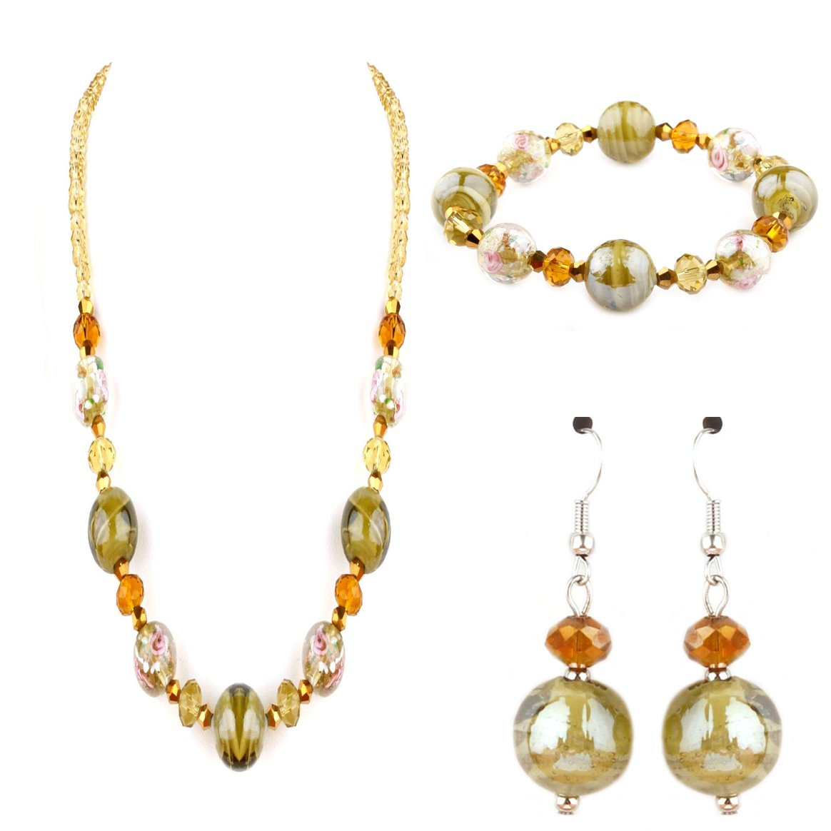 Murano Glass Olive Francesca Collection Set (Bracelet, Necklace and Earrings)