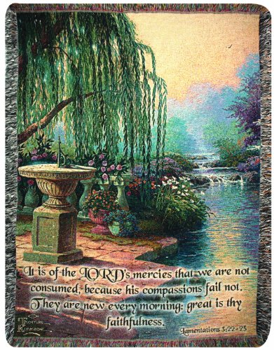 (Manual Thomas Kinkade 50 x 60-Inch Tapestry Throw with Verse, Hour of Prayer)