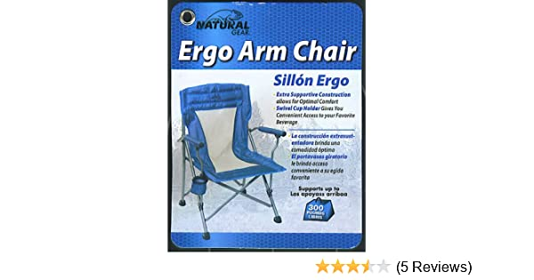 Amazon.com: Natural Gear Folding Arm Chair with Drink Holder and Carry Bag Supports 300 LBS - Blue Camp Chair: Office Products