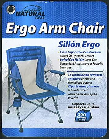 Natural Gear Folding Arm Chair with Drink Holder and Carry Bag Supports 300 LBS - Blue