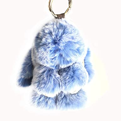 Amazon.com: 15 cm esponjoso conejo llavero Pompón de piel ...