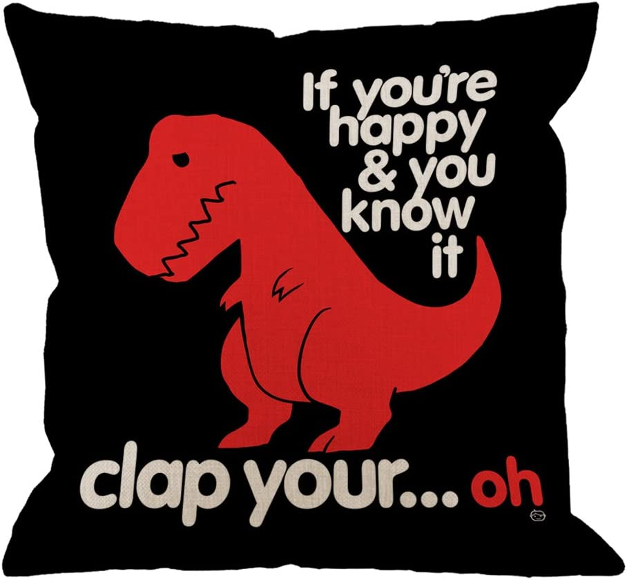 HGOD DESIGNS Throw Pillow Case Red Dinosaur Cotton Linen Square Cushion Cover Standard Pillowcase for Men Women Home Decorative Sofa Armchair Bedroom Livingroom 18 x 18 inch