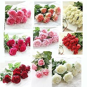 iMeshbean 10PCS 7cm Real Latex Touch Rose Flowers Flower Wedding Home Design Bouquet Decors 1