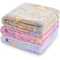 luciphia 1 Pack 3 Blankets Super Soft Fluffy Premium Fleece Pet Blanket Flannel Throw for Dog Puppy Cat Bone Medium