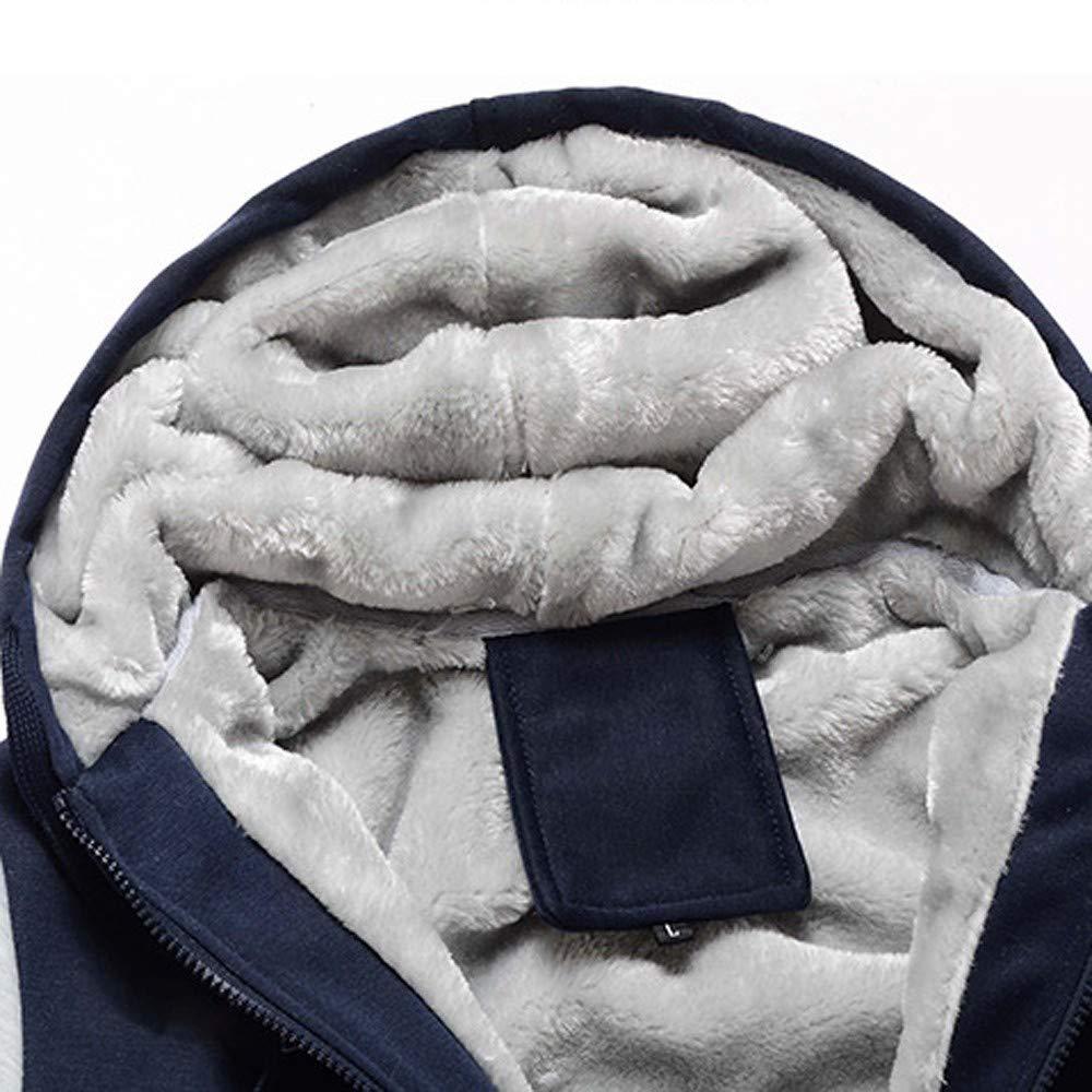 Yumso Homme Sweat-Shirt /à Capuche,Homme Hiver Chaud Sweats /Épaisse Veste /à Capuche Doubl/ée Polaire Patchwork Manteaux Doux Hoodie Blousons Sweat-Shirts Impression de Hibou Manches Longues M-5XL