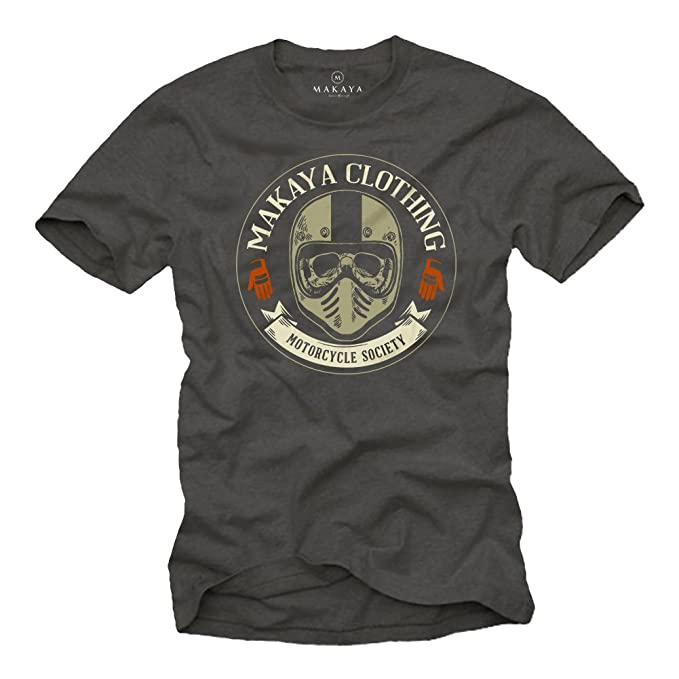 MAKAYA Ropa Motocross Hombre - Camiseta Casco Moto Integral con Calavera - Skull T-Shirt: Amazon.es: Ropa y accesorios