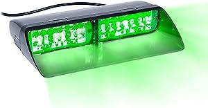 16 LED Emergency Dash Light Dual Rapid Switch Windshield Warning Hazard Safety 17 Flashing Strobe Modes Car Truck Vehicle Law Enforcement Police - Green