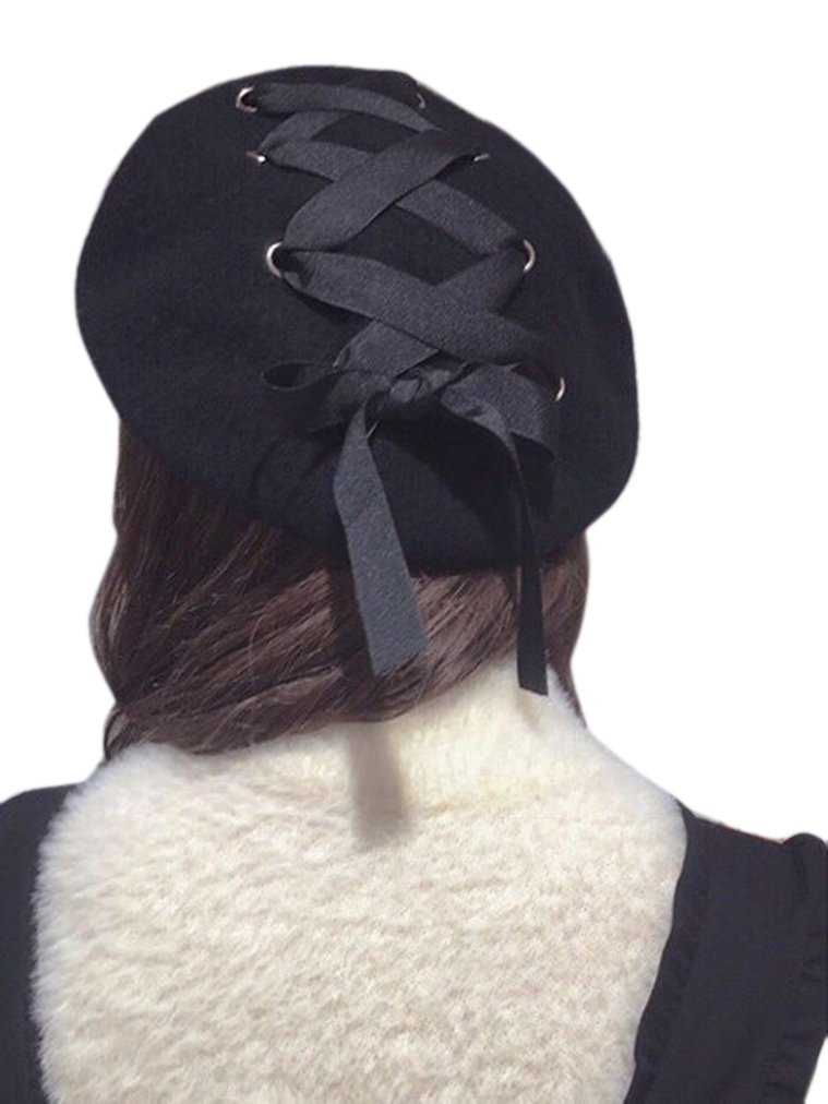 Ealafee Black Wool Beret for Girls Cloche Fedora Floppy Winter Top Hat Billycock