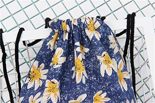 TOMATO-smile - Bolso mochila  de Lona para mujer azul borgoña Floral