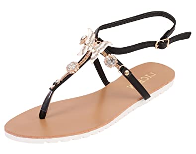 ce7b308096bbf9 Ladies Gladiator Sandals Womens Flat Strappy Fancy Butterfly Detail Summer  Beach Shoes (UK3