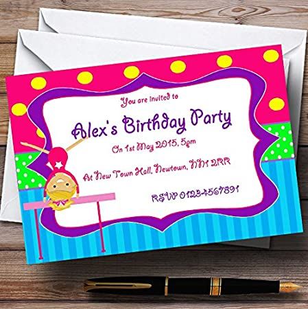 pink gymnastics personalised birthday party invitations invites