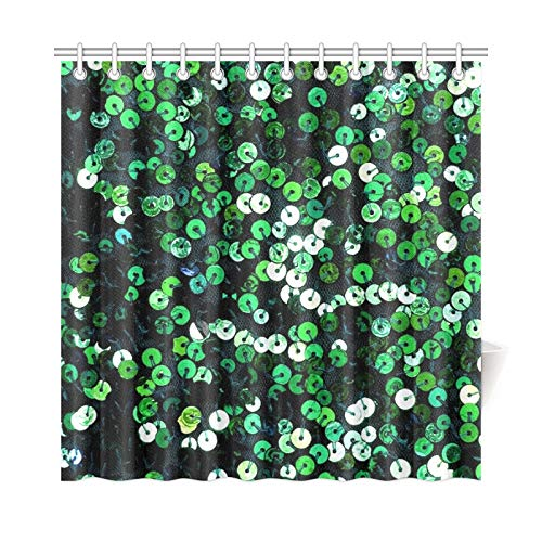 VNASKL Home Decor Bath Curtain Sequins Jewellery Ornament Shiny Fashion Jewelry 941695 Polyester Fabric Waterproof Shower Curtain for Bathroom, 72 X 72 Inch Shower Curtains Hooks Included