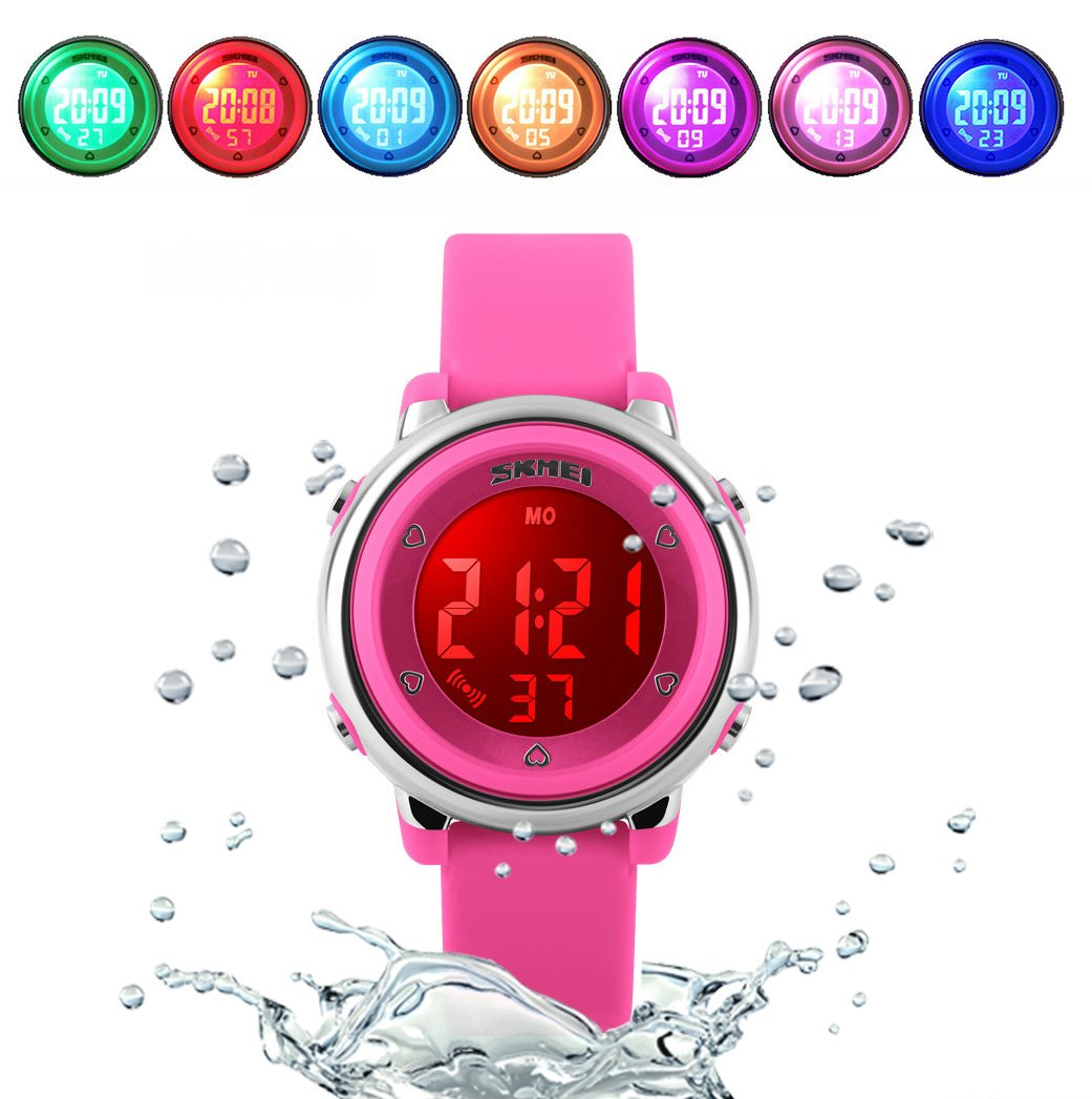 WUTONYU(TM) Children Digital Watch Kids Boy Girls LED Alarm Stopwatch Waterproof Wristwatches(Rose) by WUTONYU