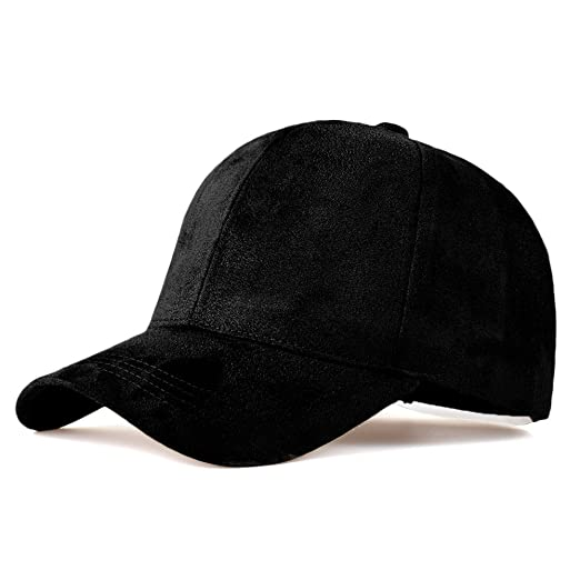 d7746f0fd68 LIXYIT Faux Leather Suede Snapback Baseball Cap Adjustable Casual 6 Panel  Plain Dad Hat Black (