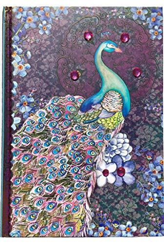 Pooch & Sweetheart Gold Foil Gem Embellished Journal, Purple Pashima Peacock 95594