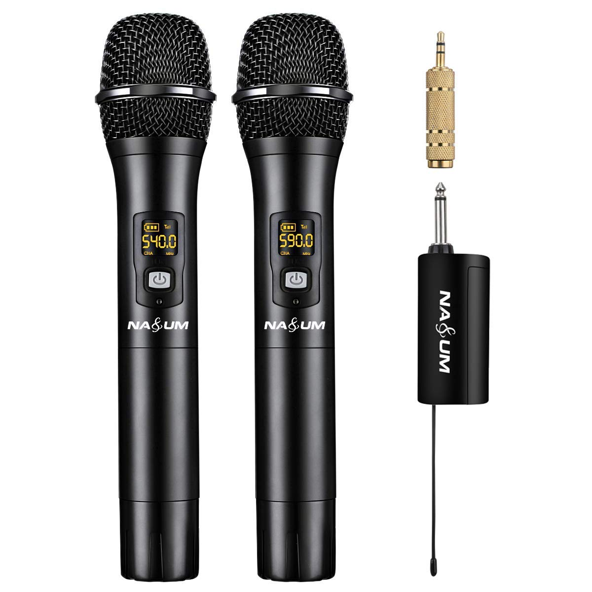 NASUM Wireless Karaoke Microphone, Professional UHF Dual Channel Metal Dynamic Cordless Microphone, Handheld Wireless Mic with Rechargeable Receiver, for Singing, Karaoke, Wedding, Church by NASUM