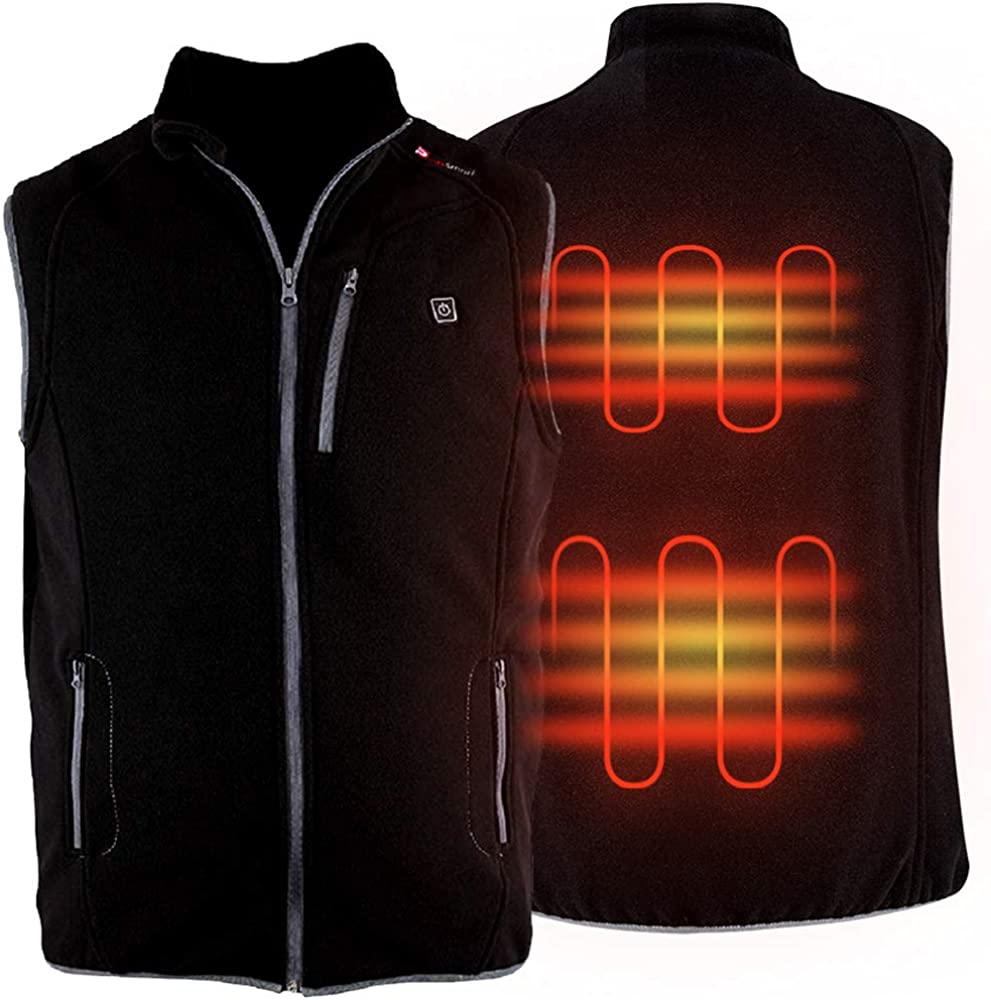 PROSmart Heated Vest Polar Fleece Lightweight Waistcoat with USB Battery Pack for Men and Women (Unisex): Clothing