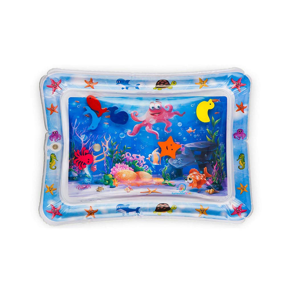 Inflatable Water Mat for Kids Fun Tummy Time Play Mat Baby Activity Play Center Watermat Float Pad Toy Gifts (Blue)