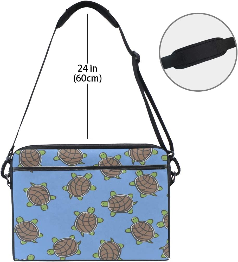 Laptop Bag Doodle Turtle Pattern 15-15.4 Inch Laptop Case College Students Business People Office Workers Briefcase Messenger Shoulder Bag for Men Women
