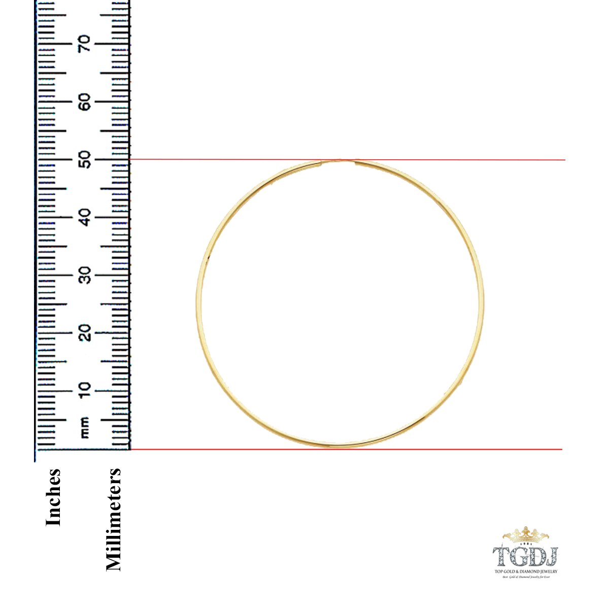 50 x 50 mm 14k Yellow Gold 1.5mm Thickness Endless Hoop Earrings
