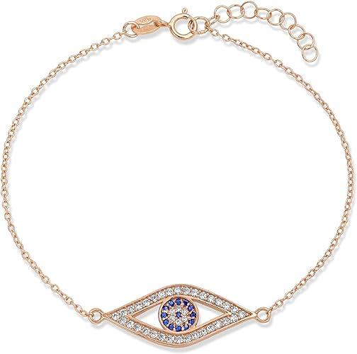14K Solid White Gold Cubic Zirconia Evil Eye Bracelet Blue Good Luck Charm Rolo Chain Link