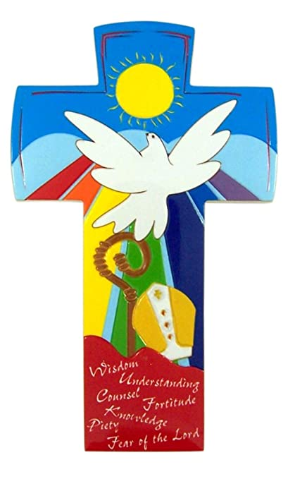 Multi-Color Gifts of the Holy Spirit Catholic Confirmation Wall Cross, 6  1/2 Inch