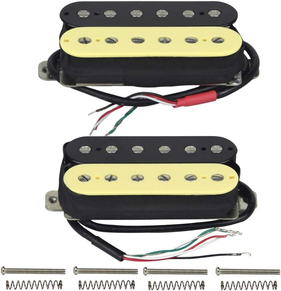 FLEOR Juego de mástil/puente (50 mm / 52 mm) Pastilla de guitarra Humbucker Alnico 5 Imán de doble bobina Humbuckers Parte de pastilla de guitarra eléctrica, Zebra