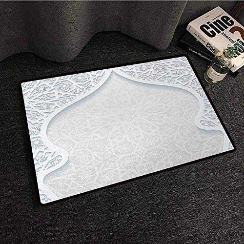 DILITECK Pet Door mat Light Blue Arabesque Style Arched Royal Persian Figure with Floral Cultural Graphic Design Super Absorbent mud W35 xL47 Light - Persian Lotus Light