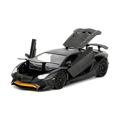 Jada 1: 24 W/B - Metals - Hyper-Spec - Lamborghini Aventador SV (Matte Black): Toys & Games