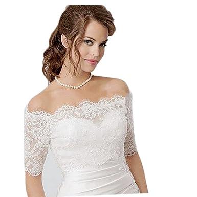 Meibida Elegant Lace Wedding Bolero Appliques Tulle Bridal Jacket ...