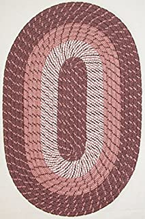 "product image for Plymouth 5' 6"" x 8' 6"" (66"" x 102"") Oval Braided Rug in Lt. Rose"
