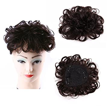 Wavy Curly Human Hair Clip In Hair Topper Crown Women s Top Crown Wiglets  Hairpiece for Thin 58e07db4a