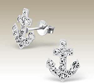 Sterling Silver Tiny Mini Anchor Type B Stud Earring